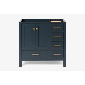 ARIEL CAMBRIDGE 36 IN. LEFT OFFSET SINGLE SINK BASE CABINET IN MIDNIGHT BLUE